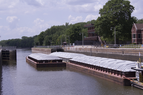 Barge at Starved Rock Lock and Dam