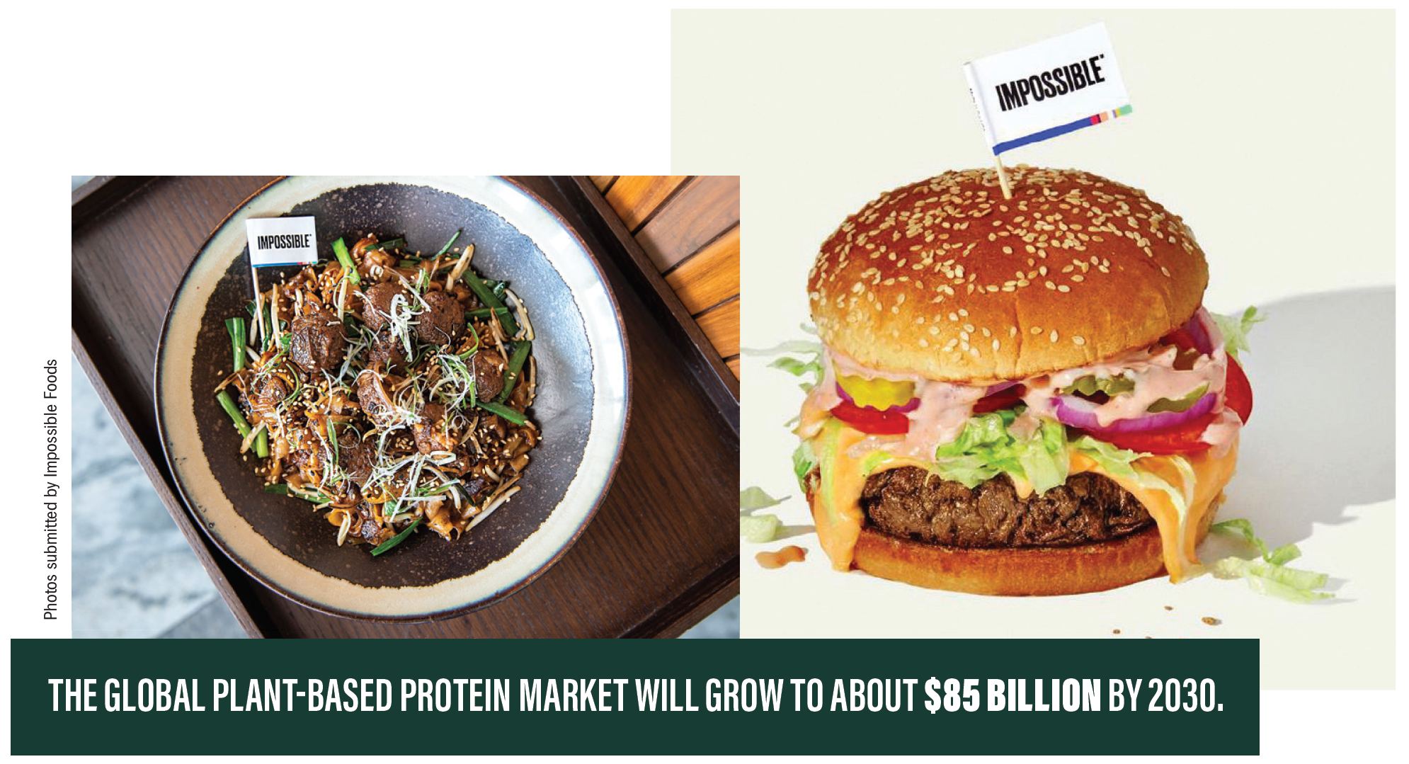 The global plant-based protein market was worth more than $4.6 billion in 2018 and will grow to about $85 billion by 2030, according to Swiss investment firm UBS.