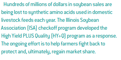 Hundreds of millions of dollars in soybean sales are being lost to synthetic amino acids used in domestic livestock feeds each year. The Illinois Soybean Association (ISA) checkoff program developed the High Yield PLUS Quality (HY+Q) program as a response. The ongoing effort is to help farmers fight back to protect and, ultimately, regain market share.