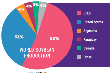 World soybean production graph
