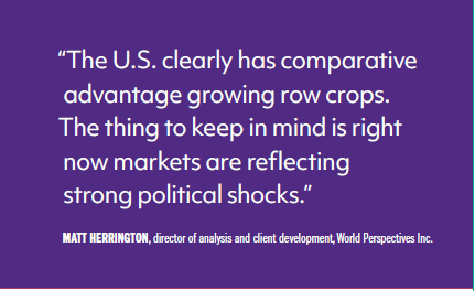 The U.S. clearly has comparative advantage growing crops. The thing to keep in mind is right now markets are reflecting strong political shocks.
