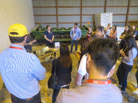 During farm tours, Emilie Janes, resource conservationist with the Kankakee County Soil and Water Conservation District, described a variety of conservation best practices that contribute to the sustainability of Illinois soybean production.