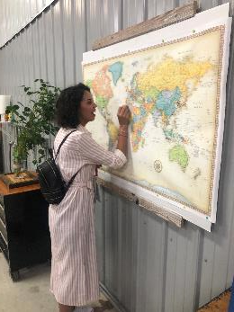 The U.S. Global Soy Trade Exchange literally welcomed the world to Illinois. At the O'Connor farm, tour attendees marked their hometown with a pin on a world map.